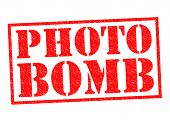 picture of bomb  - PHOTO BOMB red Rubber Stamp over a white background - JPG