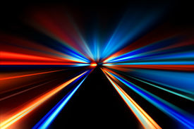 stock photo of flashing  - flash acceleration speed motion on night road - JPG