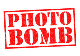 picture of prank  - PHOTO BOMB red Rubber Stamp over a white background - JPG
