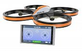 picture of drone  - one small drone with a smartphone and an app for remote control  - JPG
