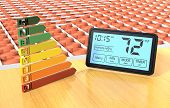 stock photo of floor heating  - close up view of a floor heating system with a programmable thermostat and an energy efficiency scale  - JPG