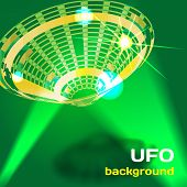 stock photo of flying saucer  - Background with a flying saucer UFO aliens with space for text - JPG
