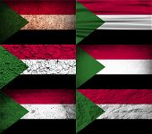 stock photo of sudan  - Flag of Sudan with old texture - JPG