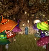 stock photo of magical-mushroom  - Elves tree house with colored mushrooms and lanterns - JPG