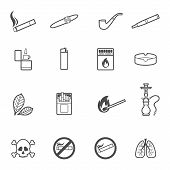 foto of tobacco smoke  - Vector illustration of smoking line style icons set - JPG