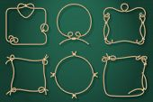 foto of lasso  - Set of Old Rope Frames in Different Unique Styles on Abstract Green Background - JPG