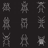 image of mandible  - bugs and beetles outline icons set eps10 - JPG