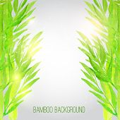 stock photo of bamboo leaves  - Vector watercolor bamboo background with green leaves on gray background with shiny particles - JPG