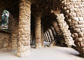 picture of gaudi barcelona  - Gallery in the Park Guell  - JPG