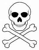 picture of skull cross bones  - pirate skull and crossbones vector illustration isolated on white background - JPG
