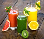 image of smoothies  - Healthy fruit and vegetable smoothie on the table - JPG