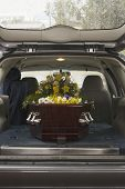stock photo of funeral  - Casket at a funeral - JPG