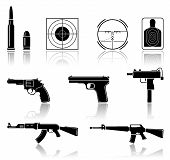 image of tommy-gun  - Set of black arms icons on white background - JPG