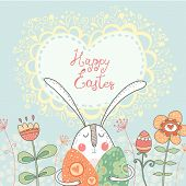 image of happy easter  - : Bright happy easter card in vector. Funny rabbit with eggs flowers in cute cartoon style. Stylish holiday background. Happy Easter - JPG