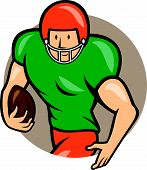 picture of scat  - Illustration of an american football gridiron player running back with ball facing side set inside circle on isolated background done in cartoon style - JPG