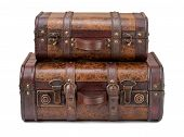 foto of old suitcase  - Two Old Suitcases Stacked on top of each other isolated on white - JPG