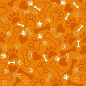pic of paw  - Seamless pattern with dog paw print bone and hearts - JPG