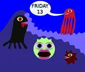 picture of friday  - Underwater monster in 80s style say friday 13 - JPG