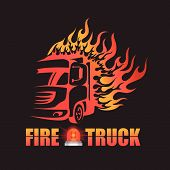 stock photo of fire truck  - the Fire truck and  Siren logo art design - JPG