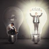stock photo of enlightenment  - Desperate afflicted businessman suddenly a brilliant idea - JPG