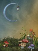 stock photo of moon-flower  - Fantasy landscape in the garden with big moon - JPG