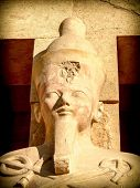pic of hatshepsut  - Detail of the head of a statue of Hatshepsut outside his temple at Deir el - JPG