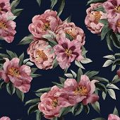 stock photo of purple rose  - Seamless floral pattern with red purple and pink roses on dark background watercolor - JPG