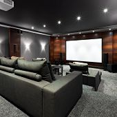 picture of home theater  - Interior of new modern luxury home theater - JPG