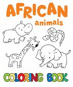 pic of jungle snake  - Coloring book or coloring picture with african animals - JPG