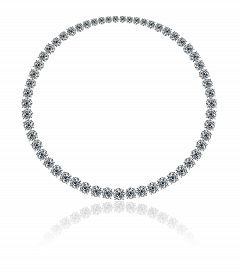 pic of collier  - Magnificent necklace made by round diamonds on a white background with reflection - JPG