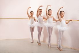 stock photo of ballerina  - Group of six little ballerinas posing together with back to camera - JPG