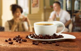 picture of cafe  - cup of coffee on table in cafe - JPG