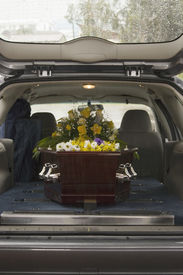 pic of funeral  - Casket at a funeral - JPG