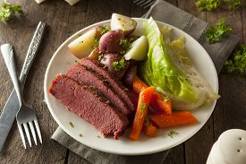 stock photo of st patty  - Homemade Corned Beef and Cabbage with Carrots and Potatoes - JPG