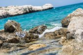 pic of crystal clear  - Crystal clear waters and sandstone rocks of the Mediterranean Sea Cyprus - JPG