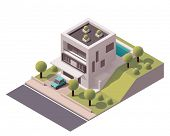 image of house representatives  - Isometric icon representing modern house with backyard - JPG