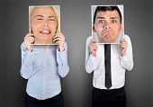 pic of sad man  - Sad business woman and man on banner - JPG