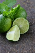 foto of mint-green  - Fresh natural organic green lime with mint leaves - JPG