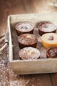image of gold panning  - Chocolate  Mini Tartlets in vintage aluminium baking pan with dusting sugar - JPG