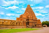 pic of trichy  - View at the tower Hindu Brihadishvara Temple India Tamil Nadu Thanjavour  - JPG