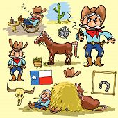 stock photo of texans  - Cartoon cowboy - JPG