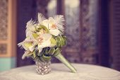 stock photo of arum lily  - Capture of Elegant lily bouquet on table  - JPG
