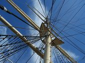 stock photo of galleon  - the main mast of the old galleon - JPG