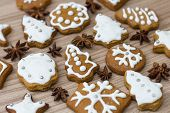 picture of christmas cookie  - Christmas Gingerbread Cookies homemade different forms on wooden table - JPG