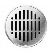 picture of manhole  - Top view of the closed sewer manhole - JPG