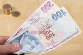 foto of turkish lira  - Two hundered Turkish Lira color paper  new texture - JPG