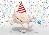 picture of blowers  - human brain with arms legs party cap blowers and carnival decorations 3d illustration - JPG