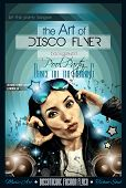 pic of club party  - Attractive Club Disco Flyer with a Girl Dj listening to music - JPG