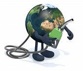 foto of fuel economy  - planet earth with arms legs and fuel pump on hand 3d illustration - JPG