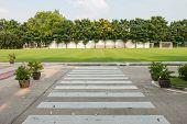picture of cross  - Zebra walkway crossing safety in school for cross to football field - JPG